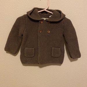 ZARA | Hooded Brown Knit Sweater